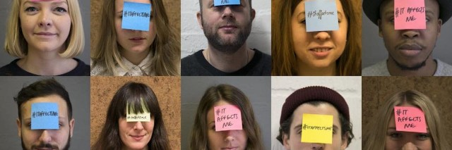 people pose with post-it notes saying #itaffectsme on their foreheads