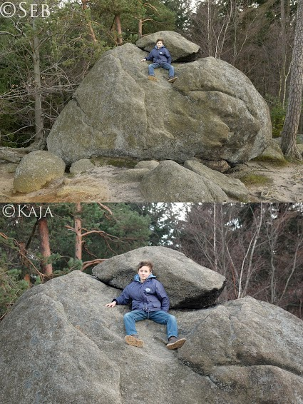 Photo of a person on a rock close up and then farther away.