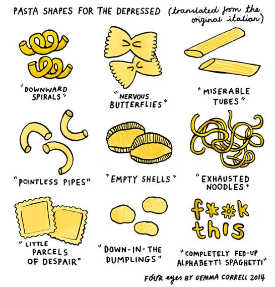 "Pasta shapes with names like ""Downward Spirals"""