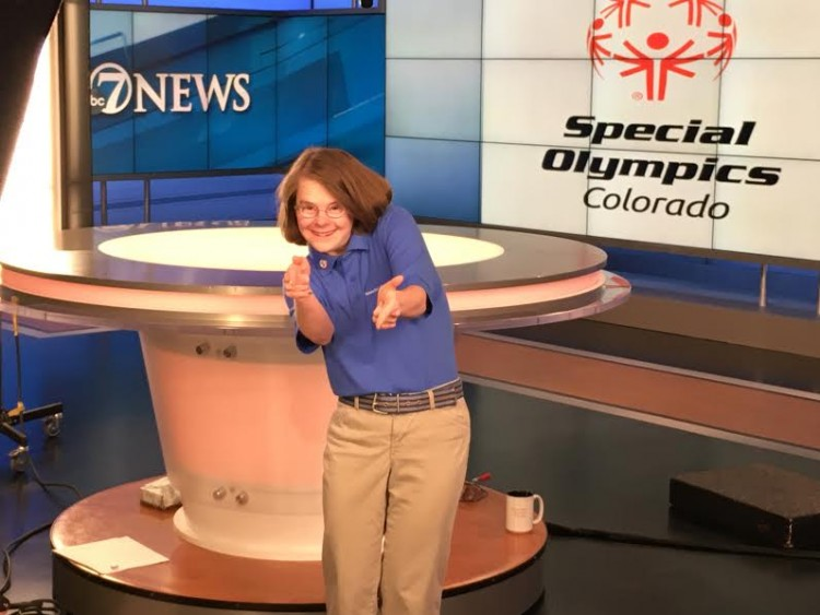 Hanna Atkinson on set. / Courtesy of Special Olympics Colorado