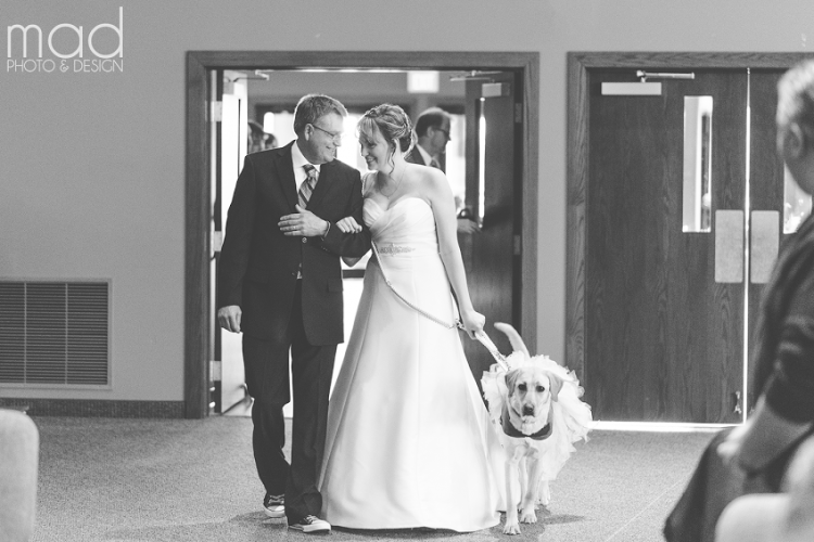 Bride walking down the aisle with her father and a service dog in a tutu.