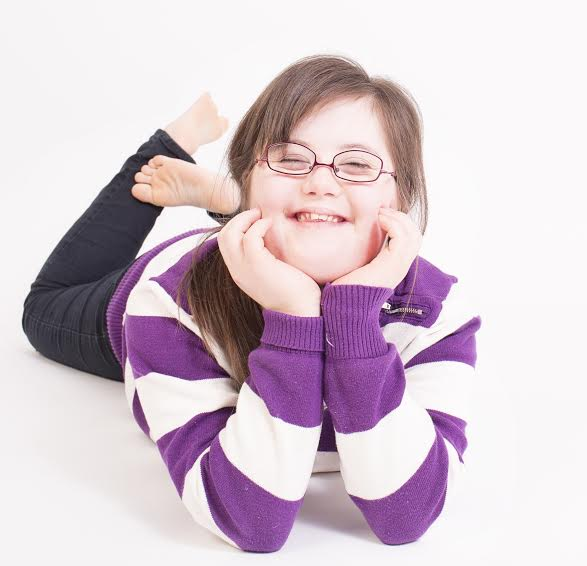Erin Farragger modelling her glasses.