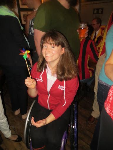 Lizzie Bennet sitting in her wheelchair