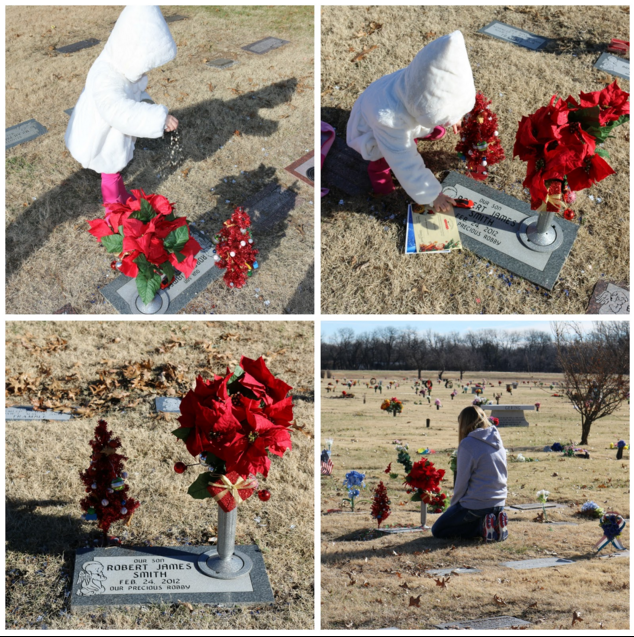 A small child putting things on a headstone at the cemetery, a woman kneeling near a grave.