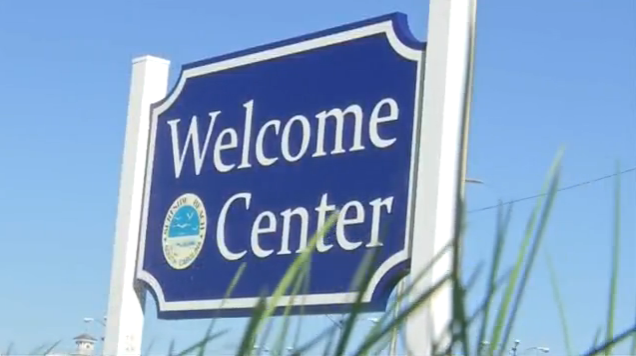 Welcome center sign
