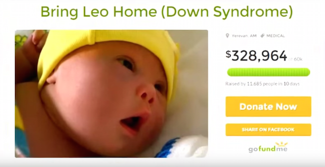 """Screen shot of the """"Bring Leo Home"""" GoFundMe page."""