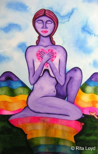 A painting of a purple woman holding a pink heart to her chest. There are rainbow mountains in the background.