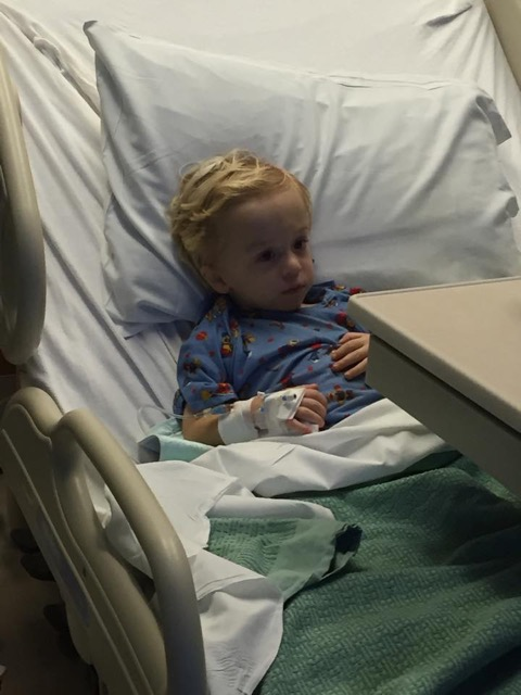 Katie's son in a hospital bed