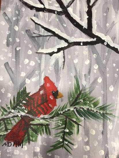 Adam's artwork: a cardinal on a snowy tree branch with snow falling