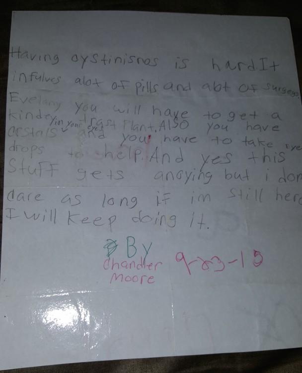 child's note handwritten on paper