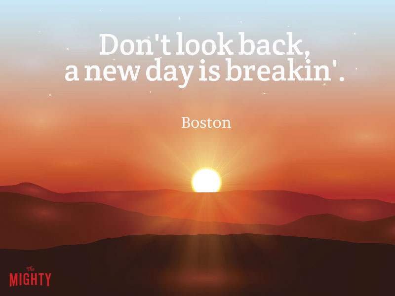 "Photo of sun rising that reads ""Don't look back, a new day is breakin'."""