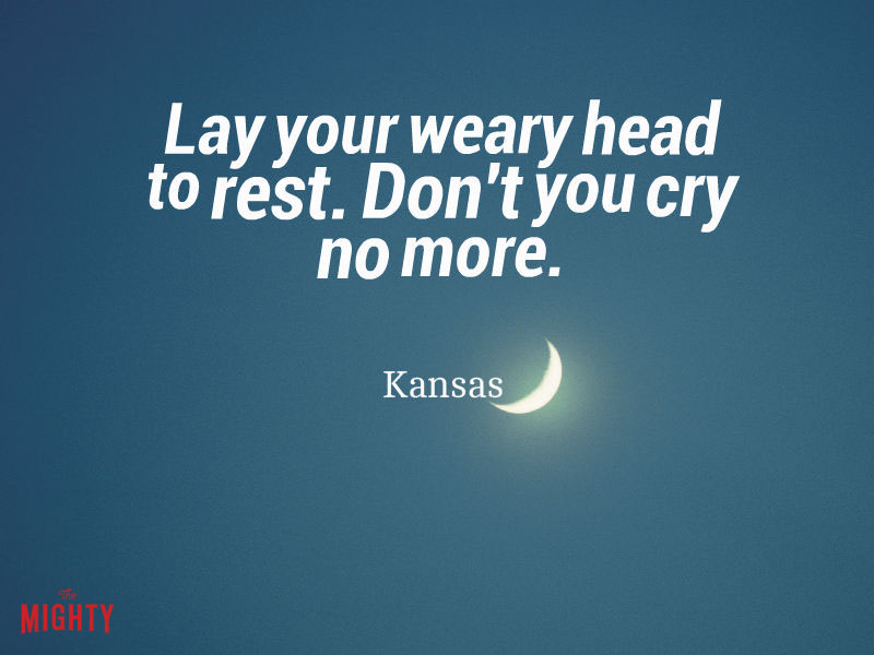 "Photo of moon that reads ""Lay your weary head to rest. Don't you cry no more."""
