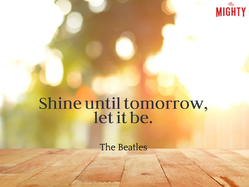 "Photo of sunrise that reads ""Shine until tomorrow, let it be."""