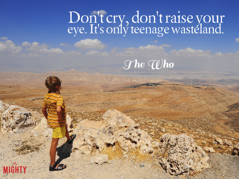 "Photo of boy looking out at land that reads ""Don't cry, don't raise your eye. It's only teenage wasteland."""
