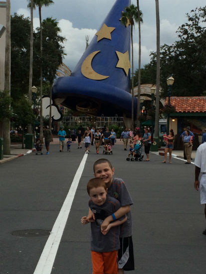 boys hugging at Disney World.