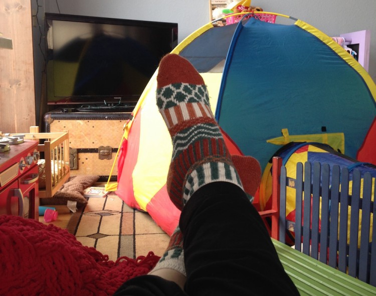 feet up in play room with tv