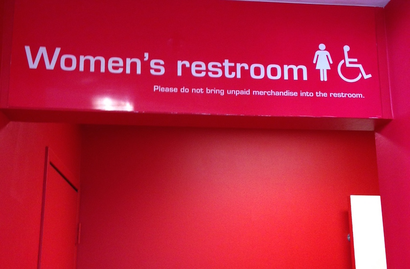 Photo of women's restroom sign at Target