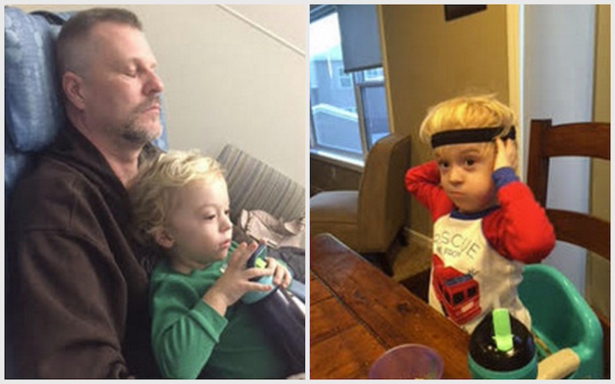 Two side-by-side photos: On the left, a photo of a boy sitting on his dad's lap. On the left, a photo of a boy sitting at a table.