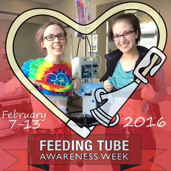 Feeding Tube Awareness Week photo with a heart drawn around two women showing their feeding tubes