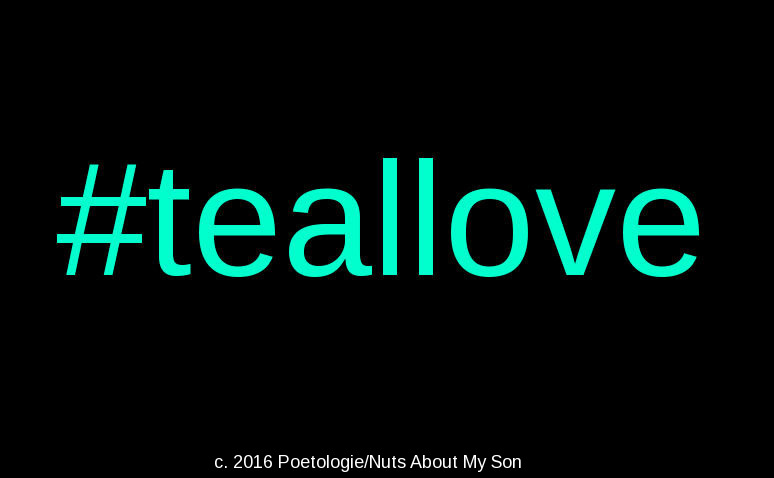 #teallove text in teal over a black background