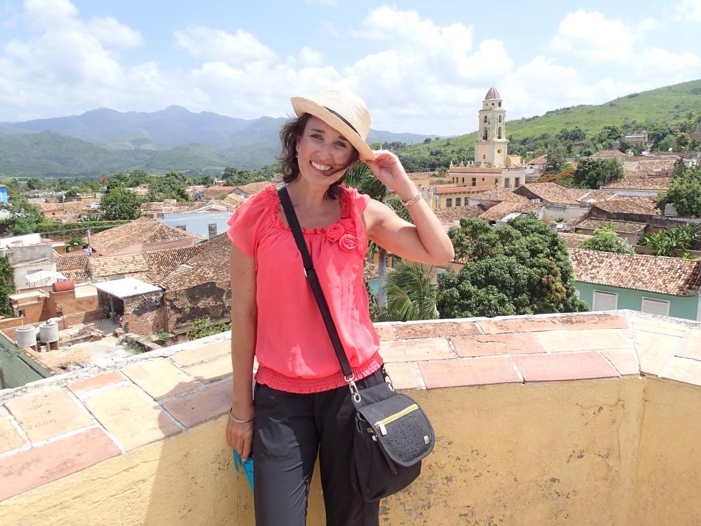 Heidi in Cuba standing in front of a landscape