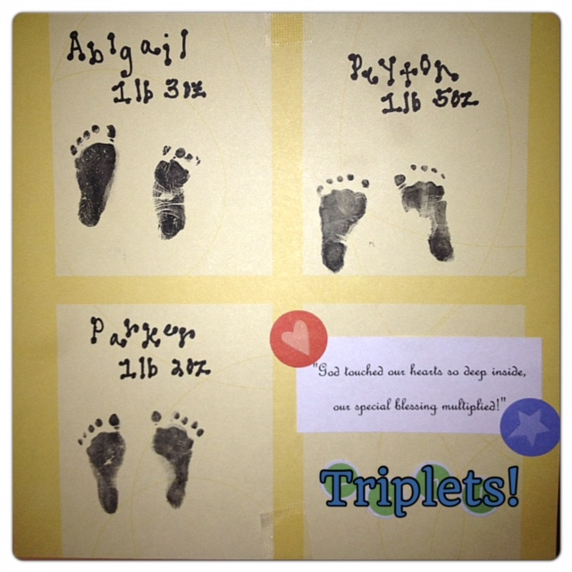 Baby footprints of Abigail, Peyton and Parker