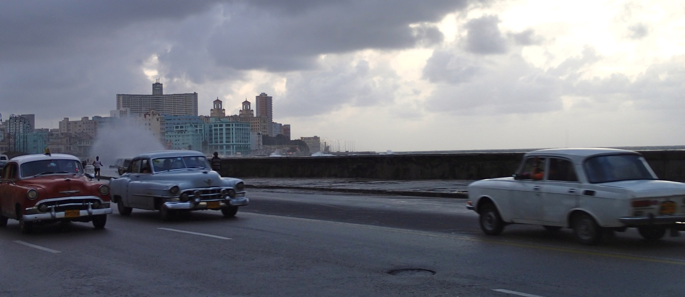 Old cars along Havana's Malecon