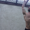 A man doing pull ups