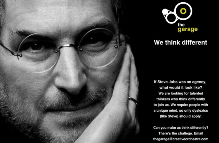 Advertisement showing Steve Jobs