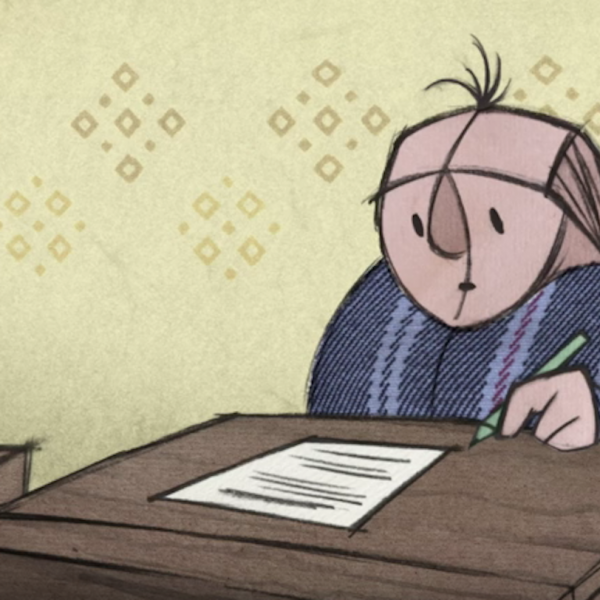 comic of man at desk with pen and paper