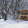 Snowplough clearing roads