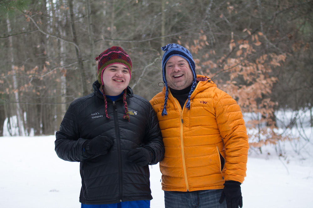 Tucker and Dennis Mashue hiking at Chippewa Nature Center, Midland, MI_photo courtesy of Michelle Delzer Photography