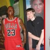 On the right: A young boy standing next to a Michael Jordan mannequin. On the left: A young boy smiling in his basketball jersey