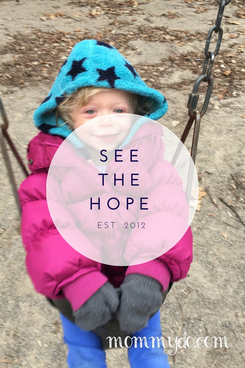 "Girl on swing with the words ""see the hope"" over the photo"