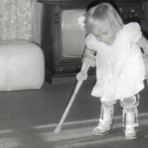 A black and white photo of Carla as a child