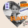 "A photo of Michelle's daughter with a heart around it and the words ""I love someone rare"""