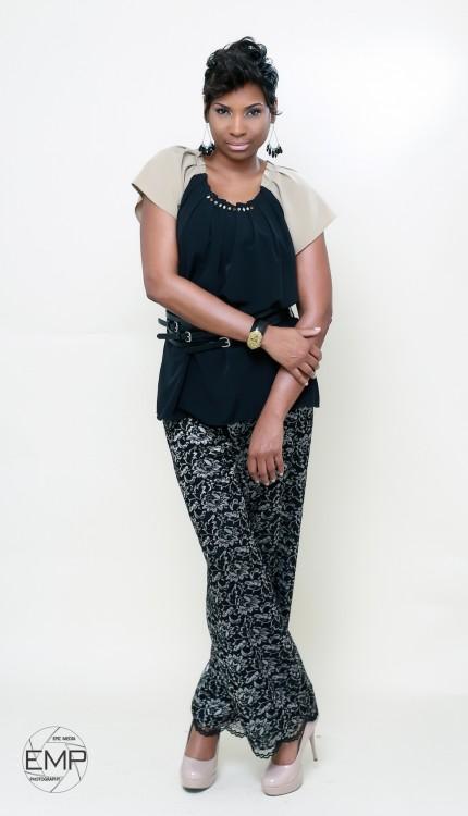 woman modeling pants and shirt