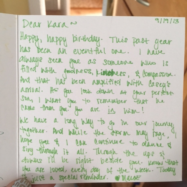 handwritten note in green ink