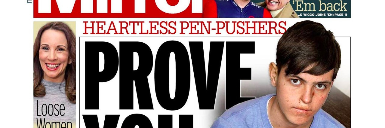 Edward Bright on the cover of the Daily Mirror