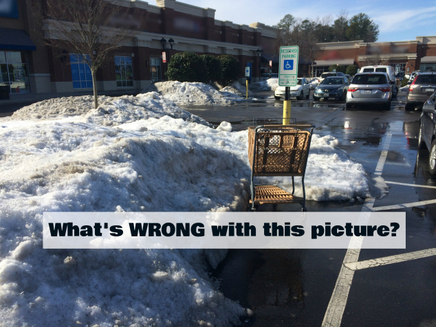 photo of an accessible parking space covered in snow