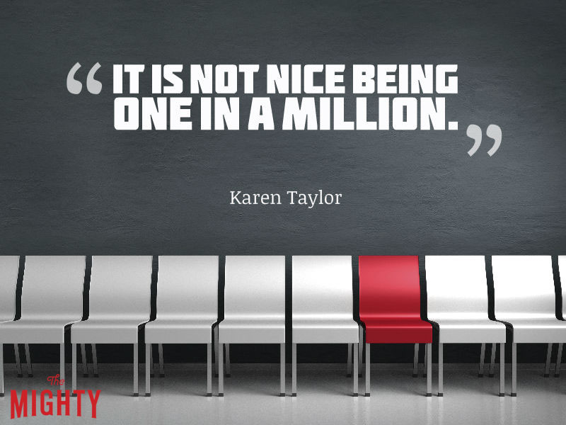"""white chairs with one red chair and words """"It is not nice being one in a million."""""""