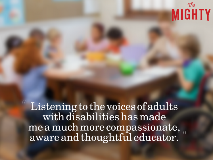 Blurry group of students at a table which reads 'Listening to the voices of adults with disabilities has made me a much more compassionate, aware and thoughtful educator.'