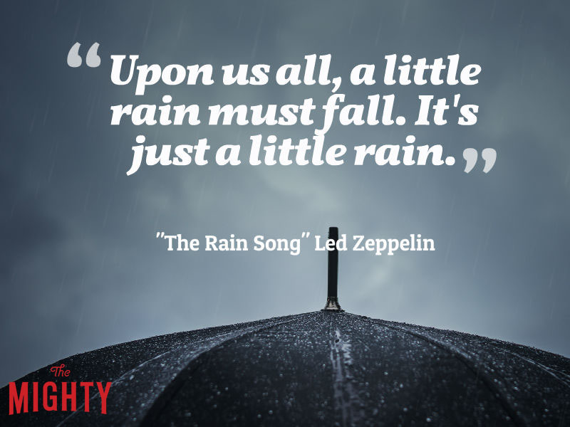 "umbrella with words ""Upon us all, a little rain must fall. It's just a little rain."""
