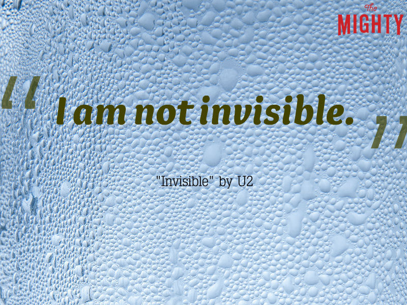"rain on glass that reads ""I am not invisible."""