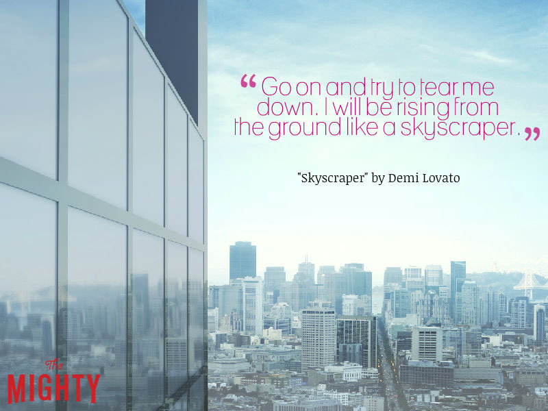 """Skyscraper with words """"Go on and try to tear me down. I will be rising from the ground like a skyscraper."""""""
