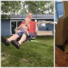 Two side-by-side photos of a little boy: one with his dad on a swing outdoors, and one sitting inside at a table