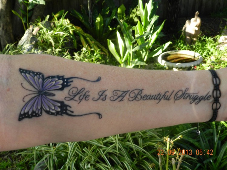 "Fibromyalgia tattoo ""Life is a beautiful struggle"""