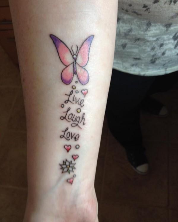 "Fibromyalgia tattoos ""live laugh love"""
