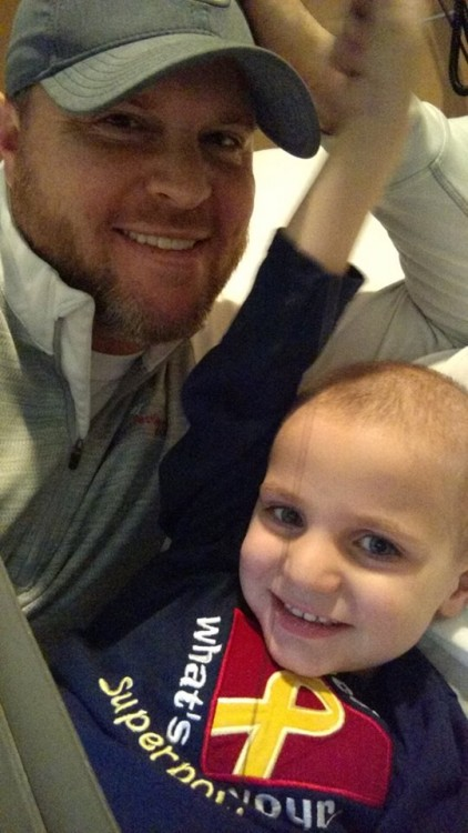 A photo of Mark Myers' friend, Michael, and his son, Grant.