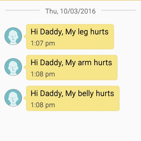 "screenshot of TippyTalk, with texts that read ""Hi Daddy, my leg hurts."" ""Hi Daddy, my arm hurts."" ""Hi Daddy, my belly hurts."""